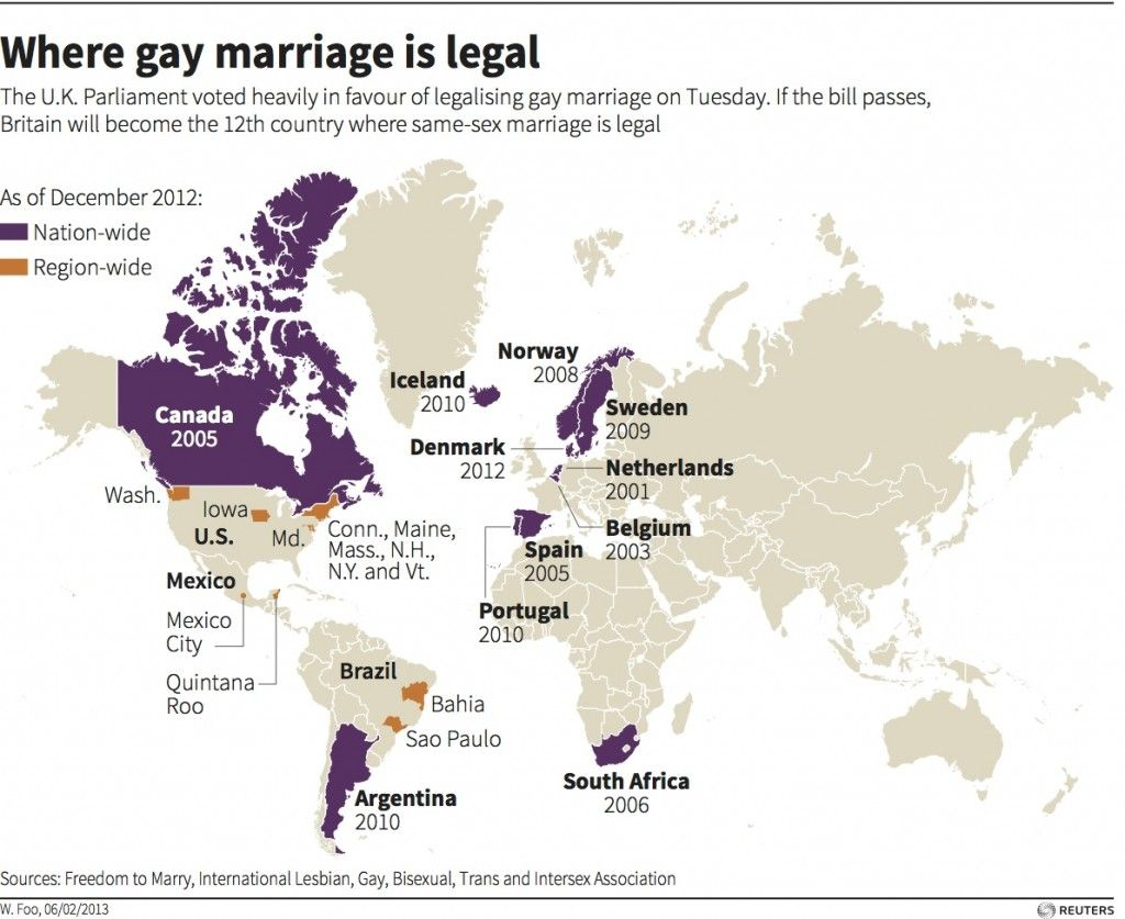 The countries where gay marriage is legal