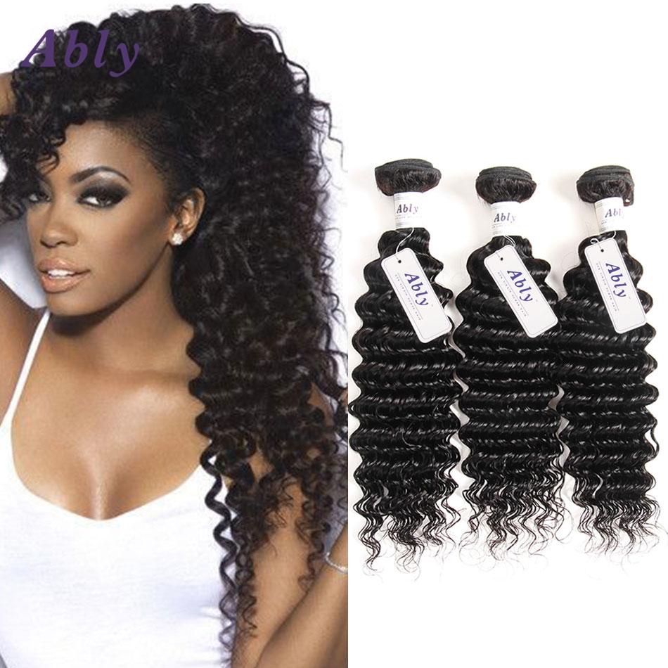 79.04$  Buy here  - Ably  Deep Wave Human Hair Weave 3 Pcs/Lot Virgin Hair Deep Wave Brazilian Deep Curly Wave Virgin Hair