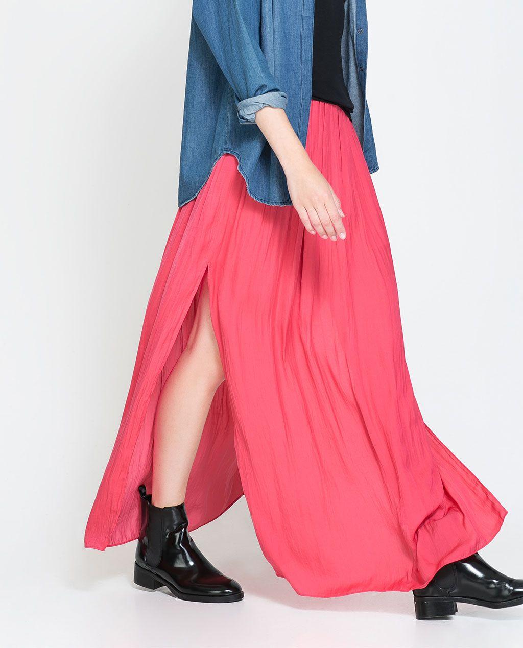 Long skirt with slits from zara style pinterest long skirts