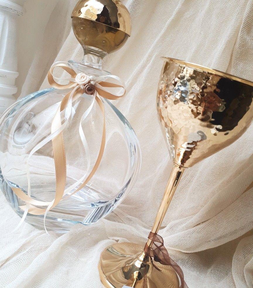 Σετ γάμου!σετ κουμπάρου σε χρυσό χρώμα,επιχρυσο ποτήρι και καραφα ...