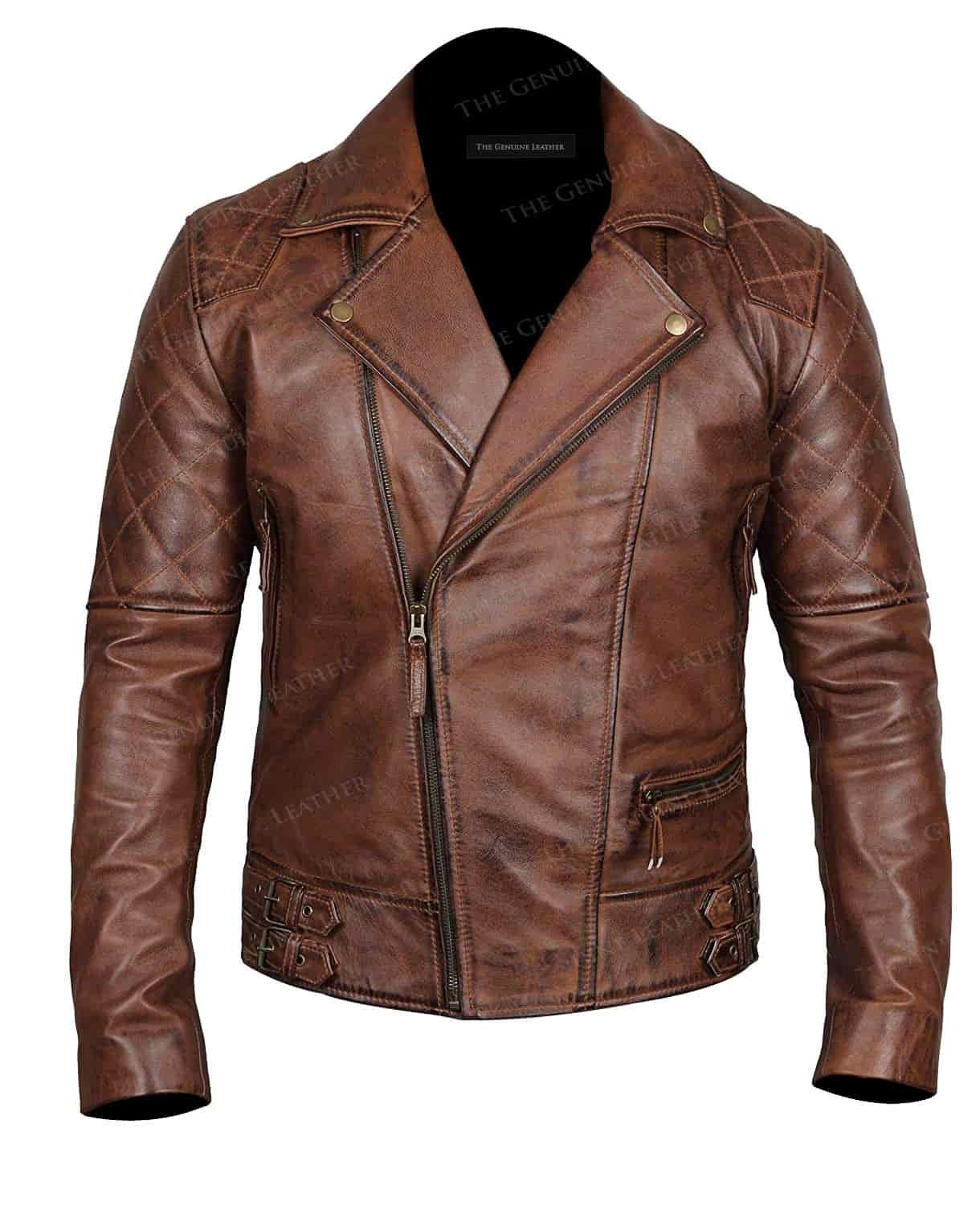 Mens Brown Biker Leather Jacket Cafe racer leather