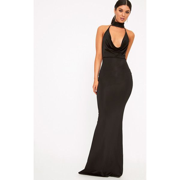 e5183574b Yasmeen Black Slinky Cowl Neck Maxi Dress (21 AUD) ❤ liked on Polyvore  featuring