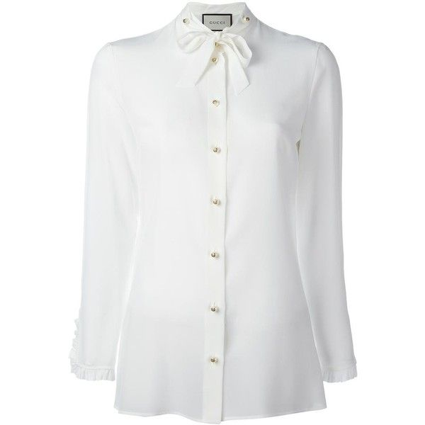baea89a7ea7a Gucci Gucci Ruffle Trim Shirt ($825) ❤ liked on Polyvore featuring tops,  blouses, cuff shirts, frilly blouse, white frilly shirt, white ruffle blouse  and ...
