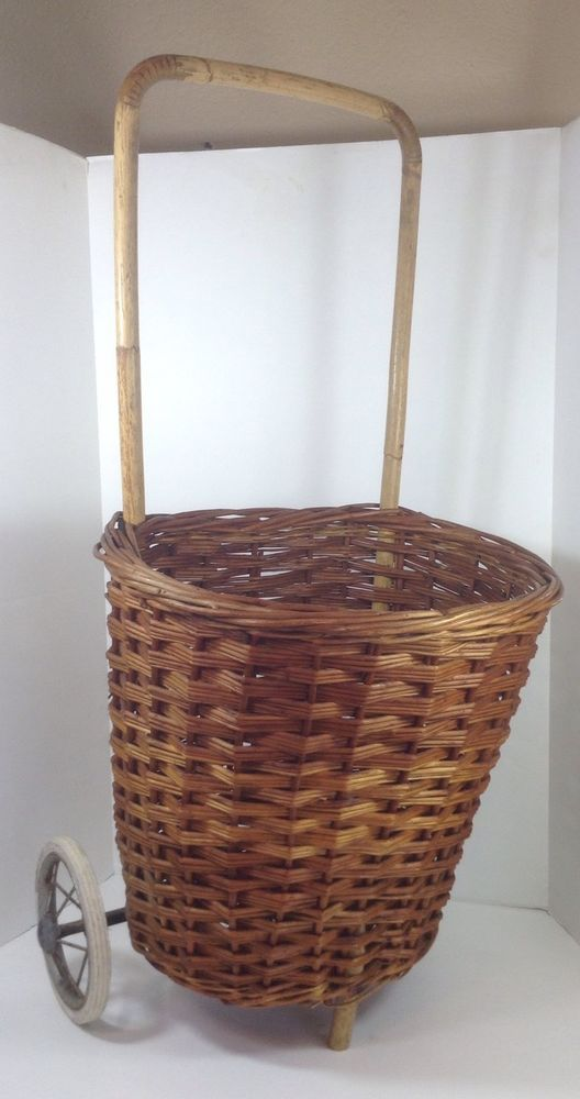 Wicker Rolling Laundry Basket Or Country French Market Shopping Cart In Business Industrial Ebay French Market