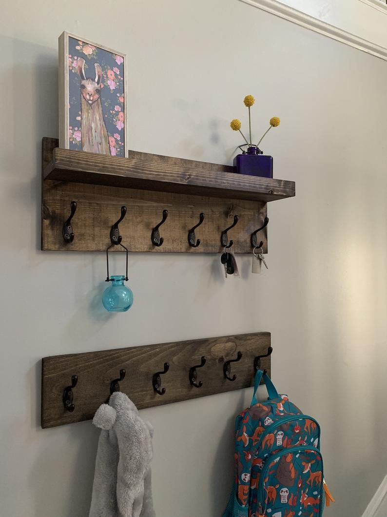 Coat Rack Without Shelf Entryway Organizer Towel Rack Key Hooks Wall Mounted Coat Rack Catch All Leash Holder Rustic Modern Unique In 2020 Coat Rack Shelf Wall Mounted Coat Rack