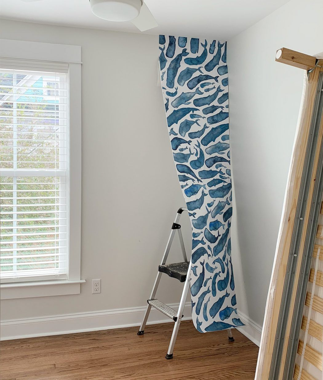 One Panel Of Whale Removable Wallpaper Partially Hung In Room Removable Wallpaper Wallpaper Crafts Mural Wallpaper