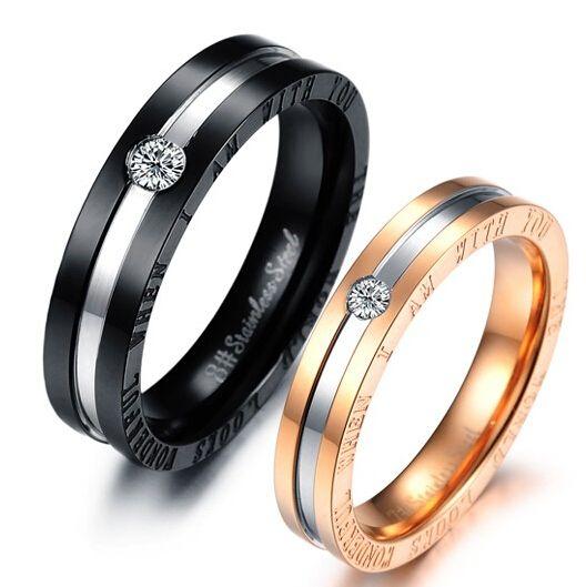 Noir Acier Inoxydable Amour Couple Anneau De Mariage Fiançailles Bandes Gravure Gratuite