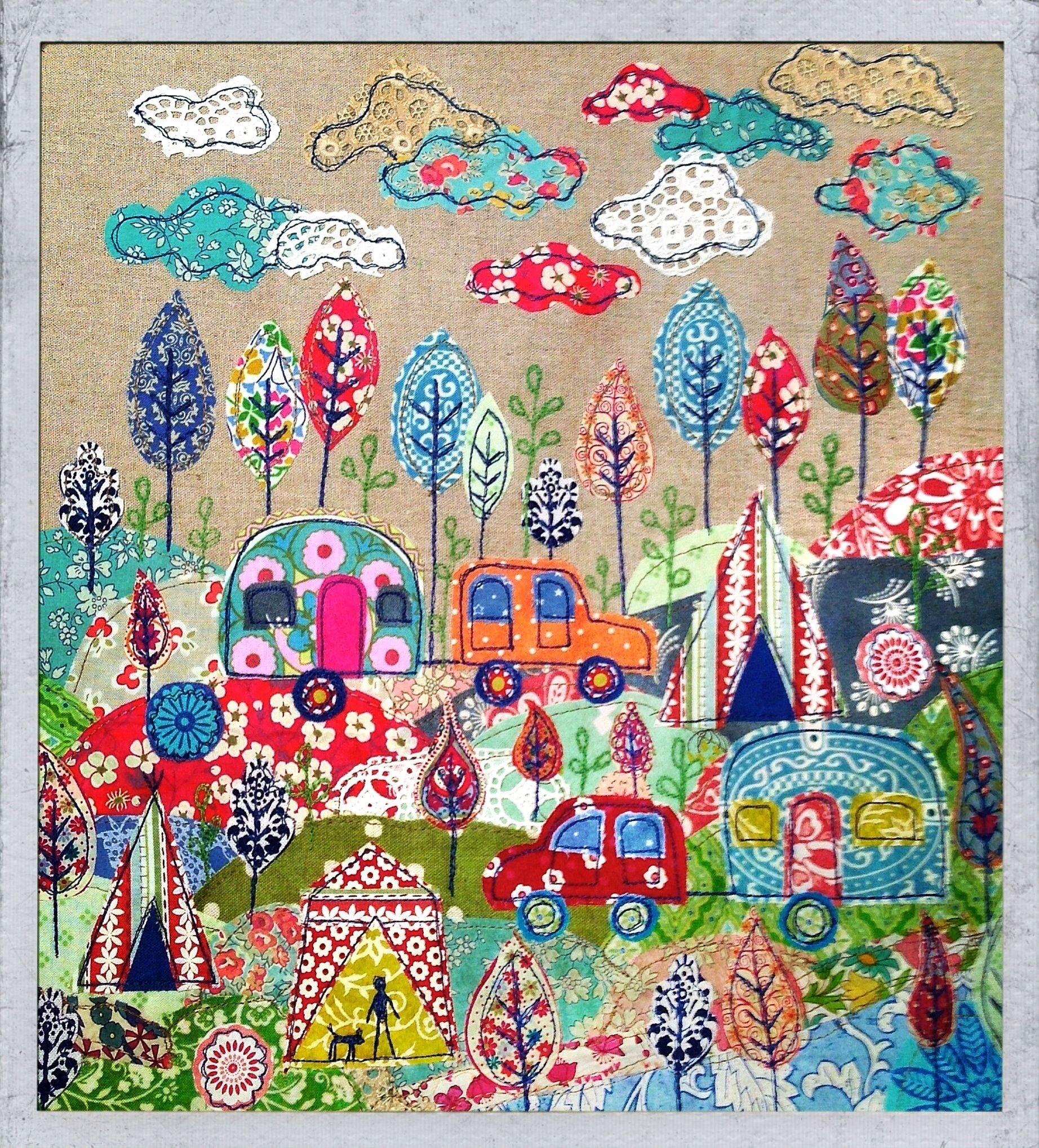 Camping Print Art Quilts Camping Quilt Applique Quilts