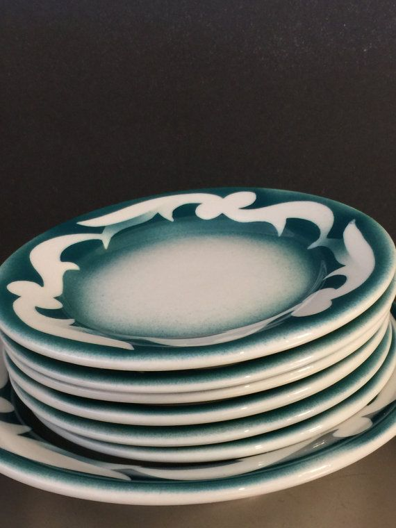 Vintage Jackson China Restaurant Ware Diner Teal Green Airbrush Set of 7 USA in Pottery \u0026 Glass Pottery \u0026 China China \u0026 Dinnerware Restaurant Ware & Vintage Jackson China Restaurant Ware Diner by PineStreetPickers ...