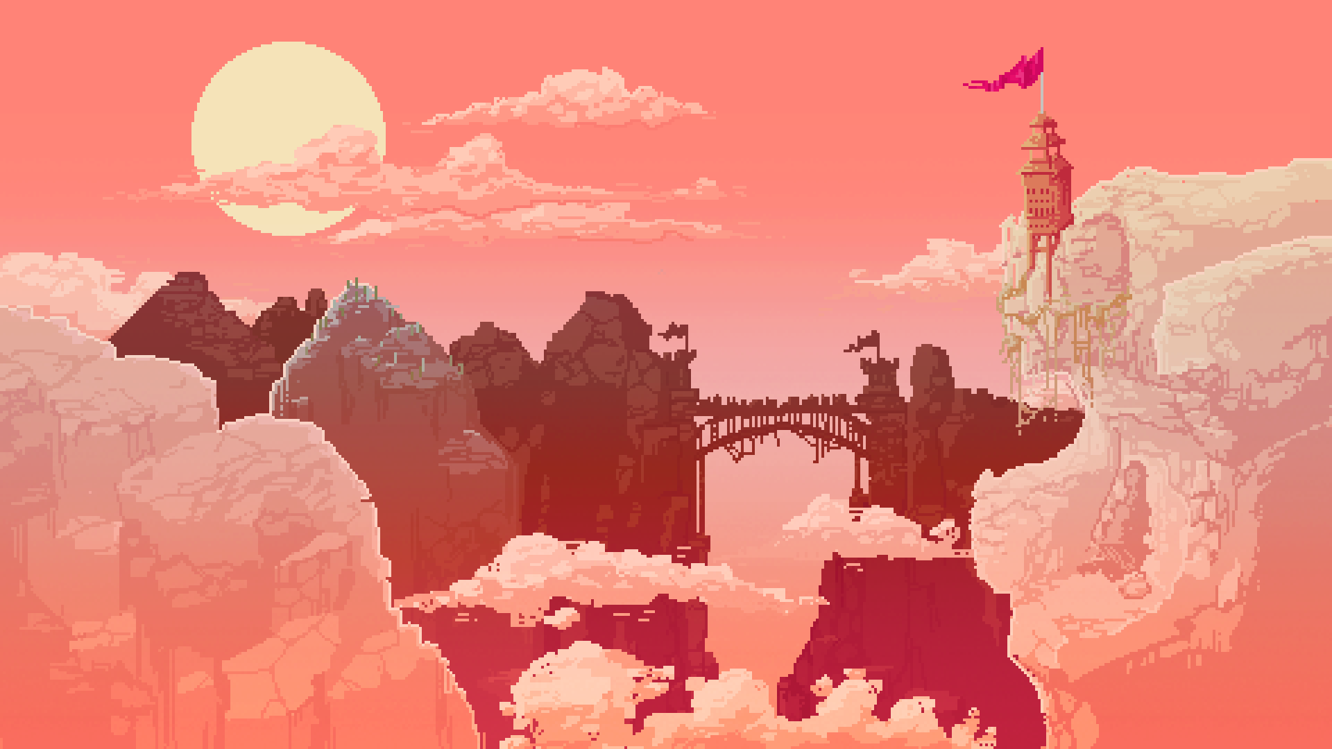 Castle in the desert/ Pixel background Pixel art games