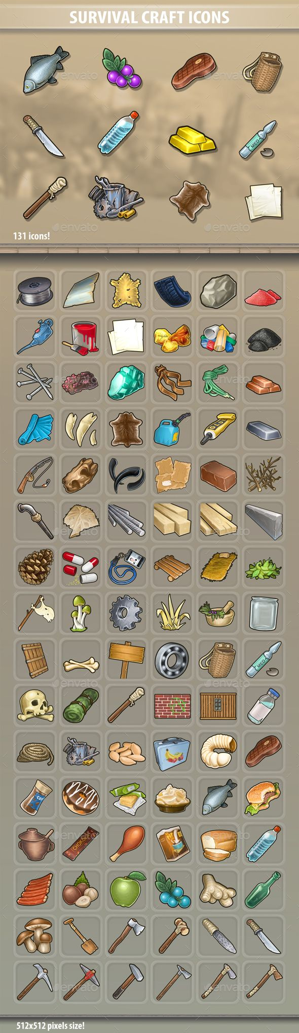 Survival Craft Icons Game card design, Pixel art games, Icon
