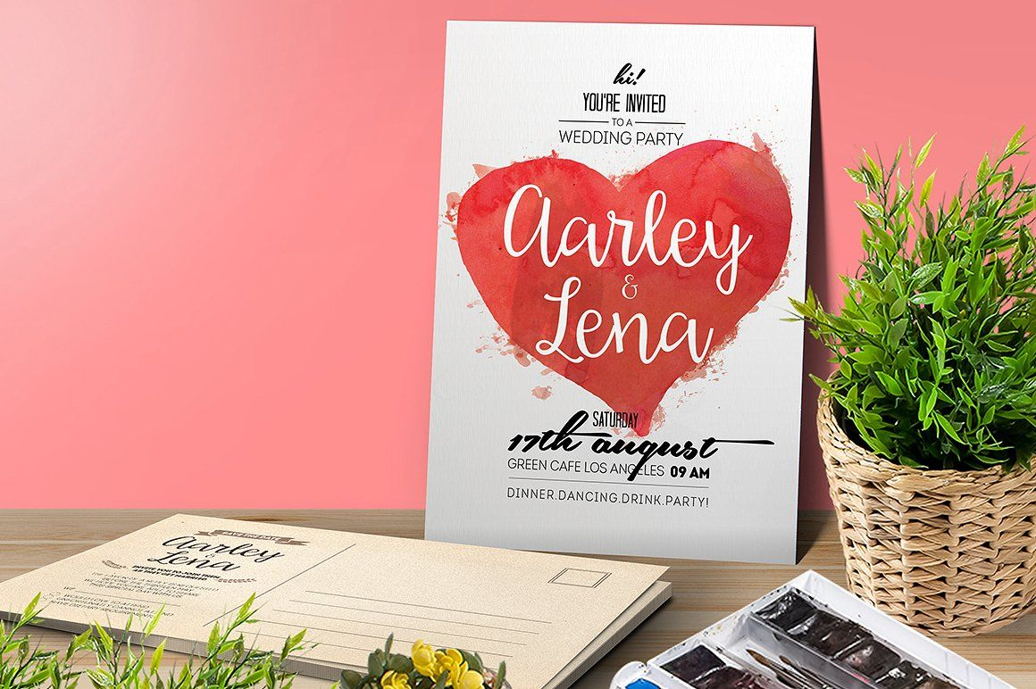 Watercolor Wedding Invitation by Aarley Kaiven on @creativemarket ...