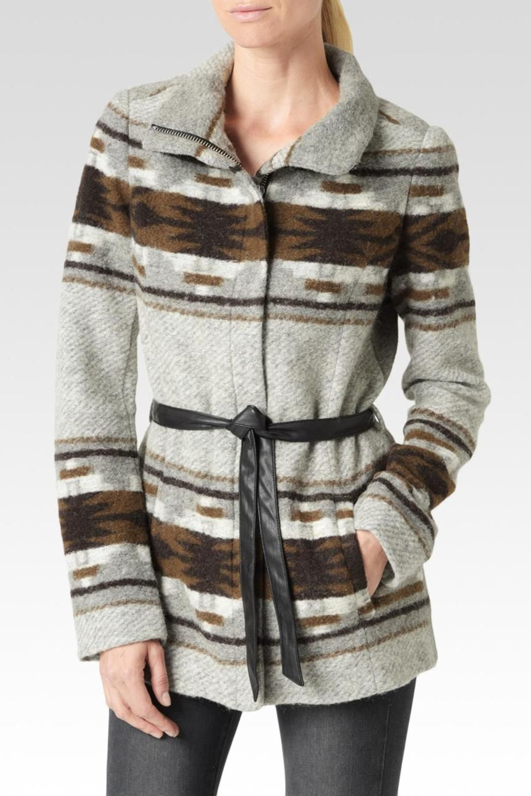 This funnel collar coat features a Custard and Dark Brown mojave-inspired border print on a cozy wool blend fabric. Finished with an optional leather sash belt, this fall go-to hits mid thigh and is tailored for a more fitted, polished look.   Haylynn Coat by Paige. Clothing - Jackets, Coats & Blazers - Coats Hudson Valley, New York