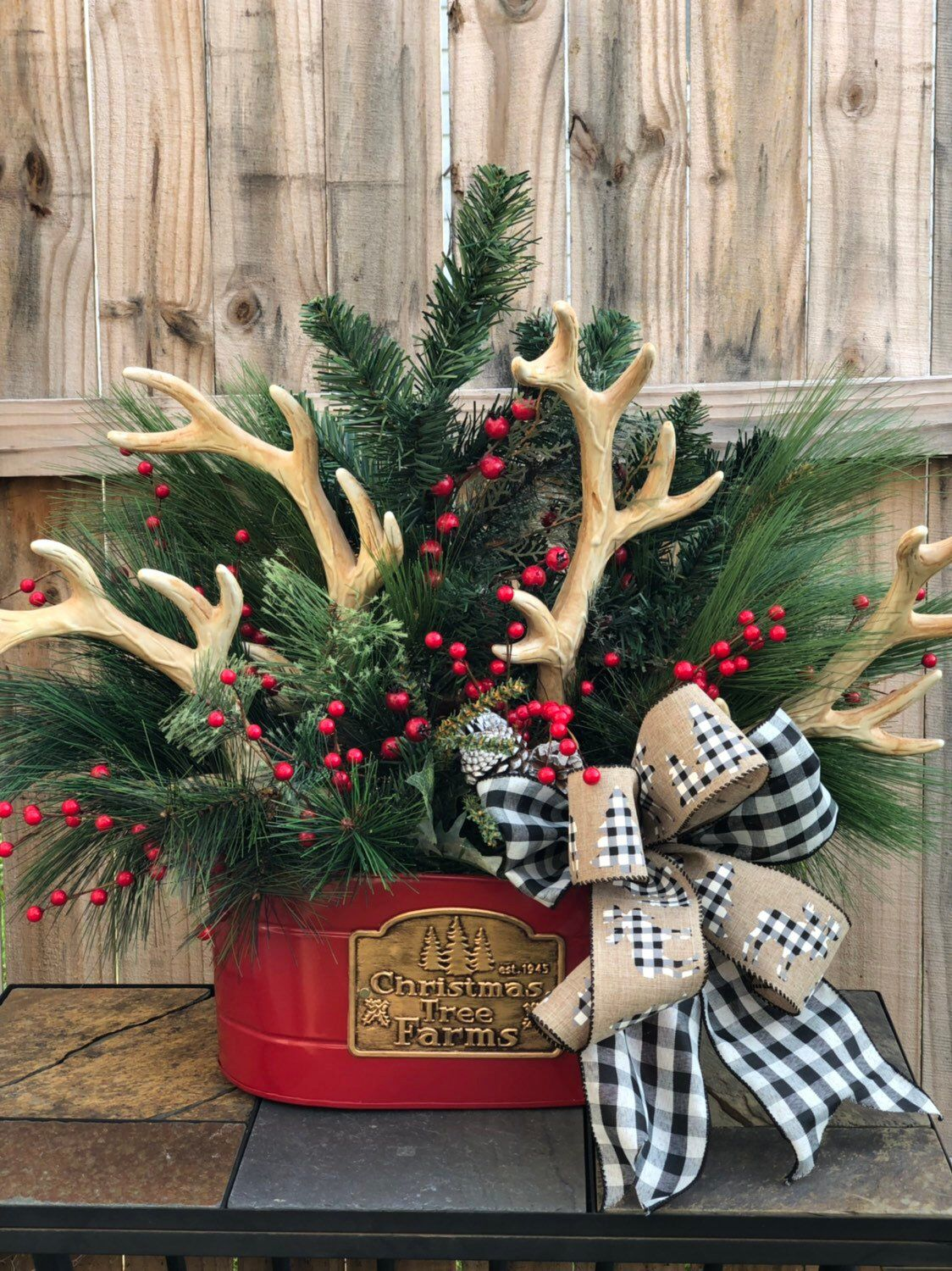 Excited To Share This Item From My Etsy Shop Rustic Christmas Centerpiece Winter Woodland Christmas Decor Christmas Centerpieces Christmas Tree Decorations