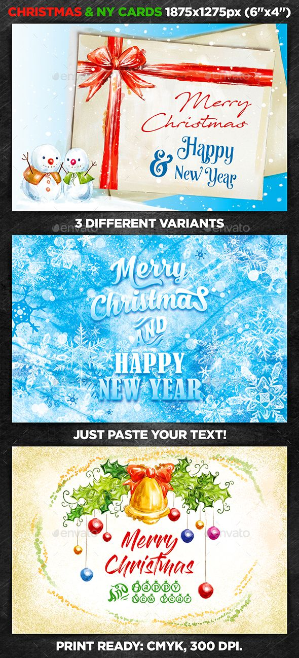 Christmas  New Year Cards Vol  Cards Template And Font Logo