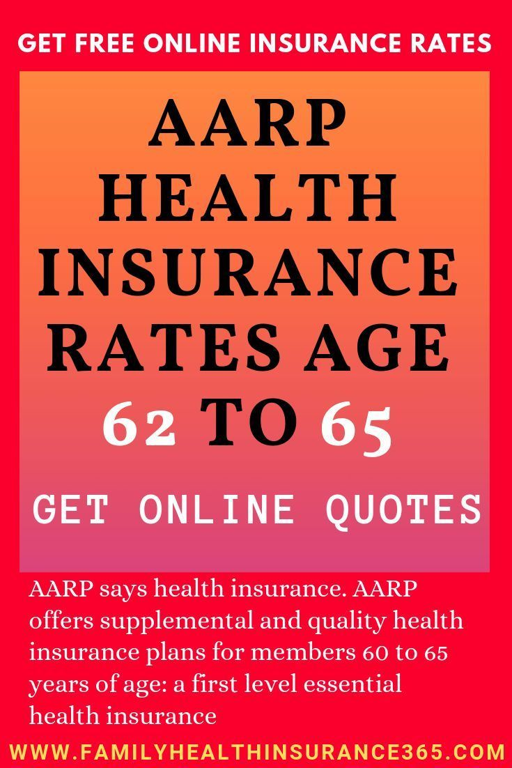 AARP health insurance rates between 62 and 65 years