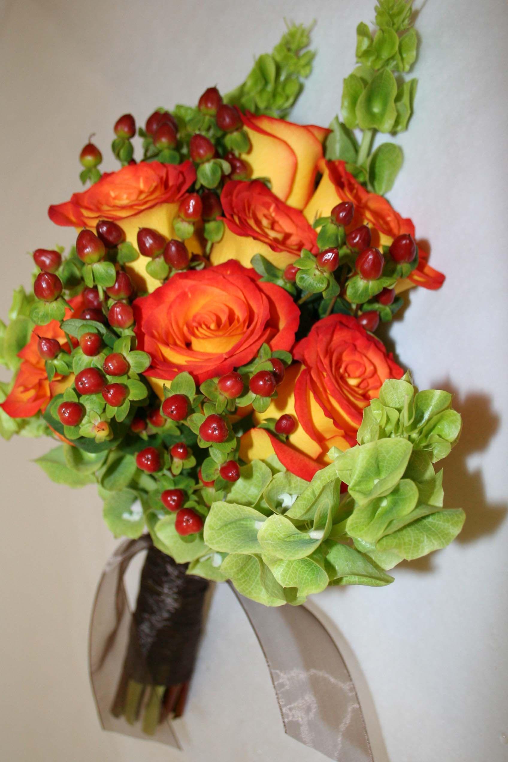 circus rose,red hypercum,bells of ireland
