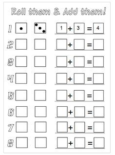 roll the dice addition worksheets to download more webb kindergarten math teaching math. Black Bedroom Furniture Sets. Home Design Ideas