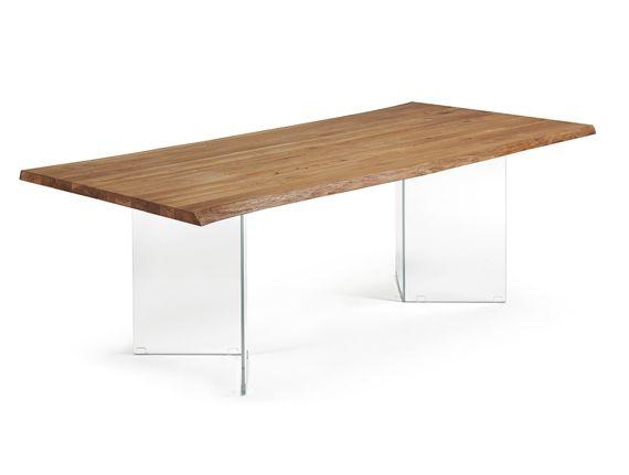 Mesa patas de cristal y sobre de madera table mesas de comedor diferentes comedor table - Patas para mesa de cristal ...