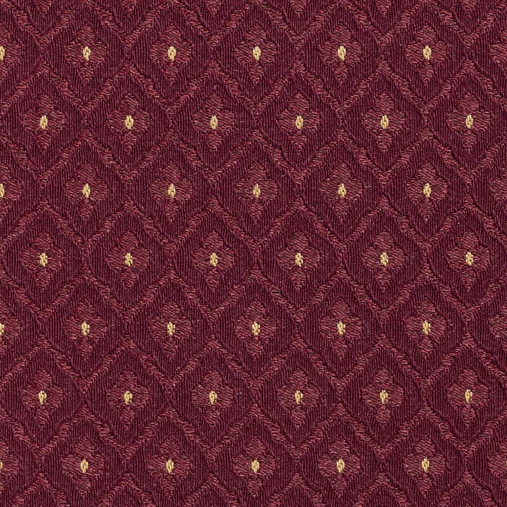 Burgundy And Gold Diamonds Upholstery Fabric By The Yard