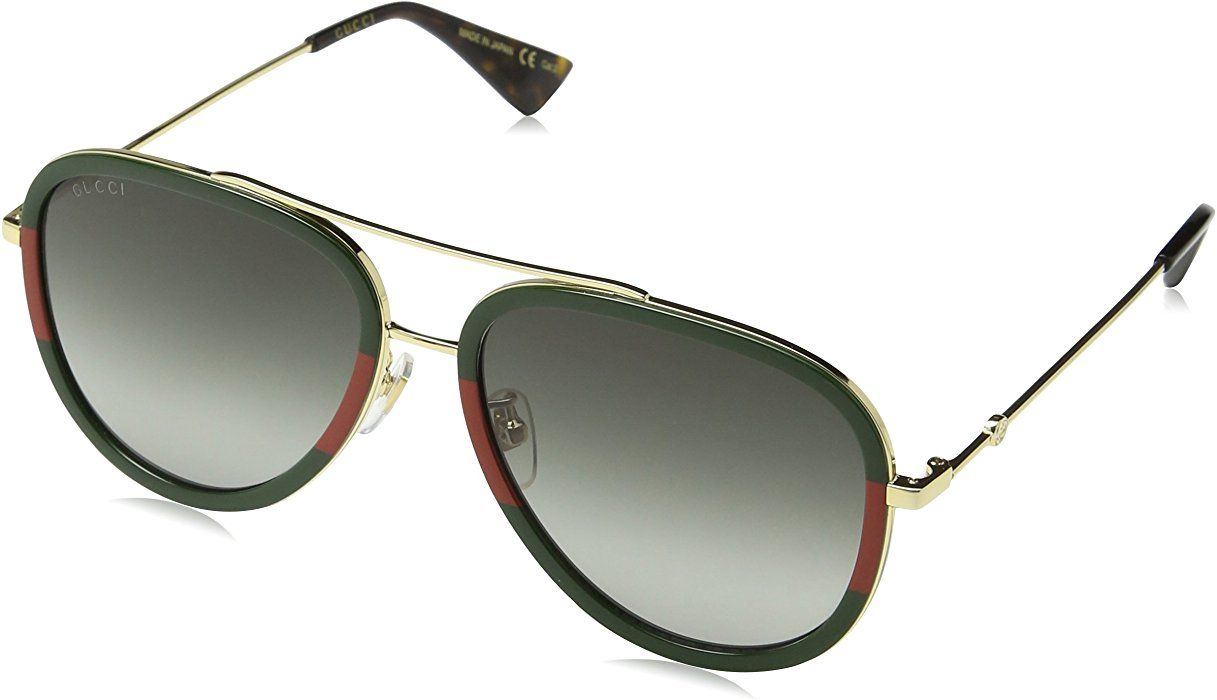 04329bcfd62 Amazon.com  Gucci GG0062S 003 Gold Green GG0062S Pilot Sunglasses Lens  Category 3 Size 57  Gucci  Clothing