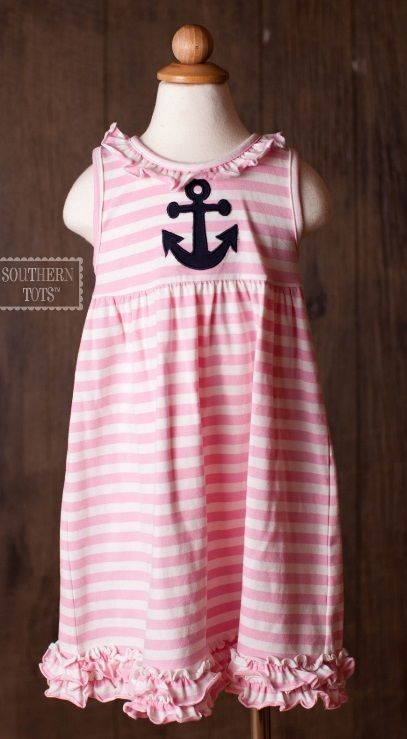 Southern Tots - Pink Striped Knit Ruffle Dress w/ Anchor Applique - IN STOCK, $19.00 (http://www.southerntots.com/pink-striped-knit-ruffle-dress-w-anchor-applique-in-stock/)