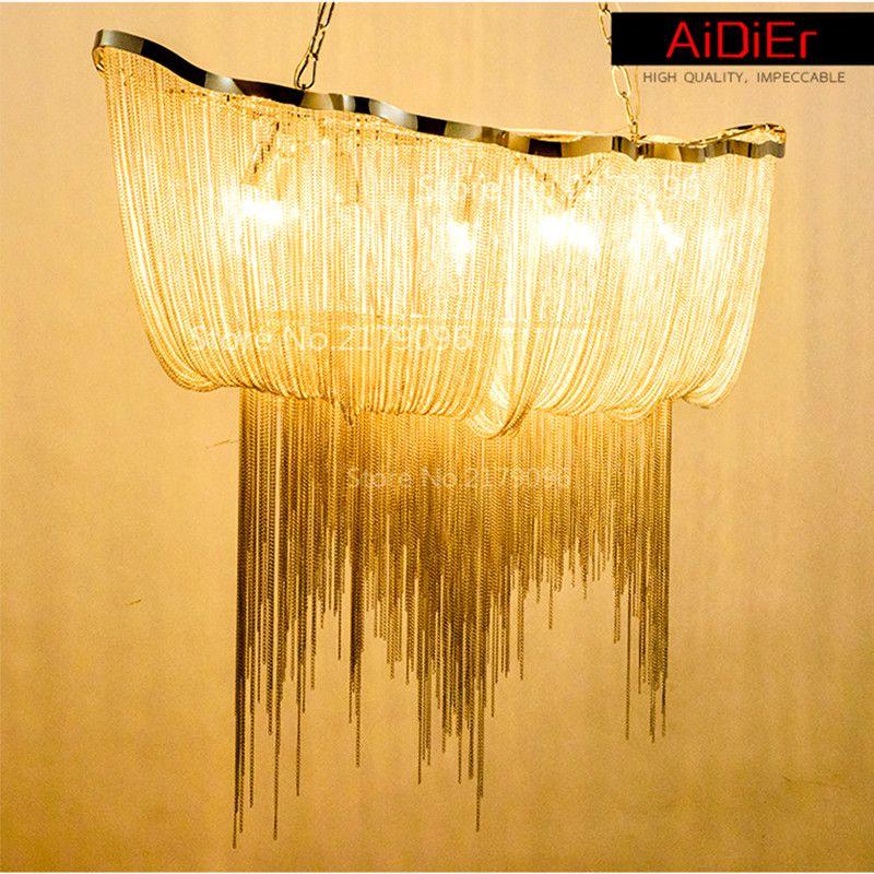 Modern Aluminum Chain Chandelier Luxury Chain Hotels And Villas Creative  Designers Personalized Villa Lamp Tassels #