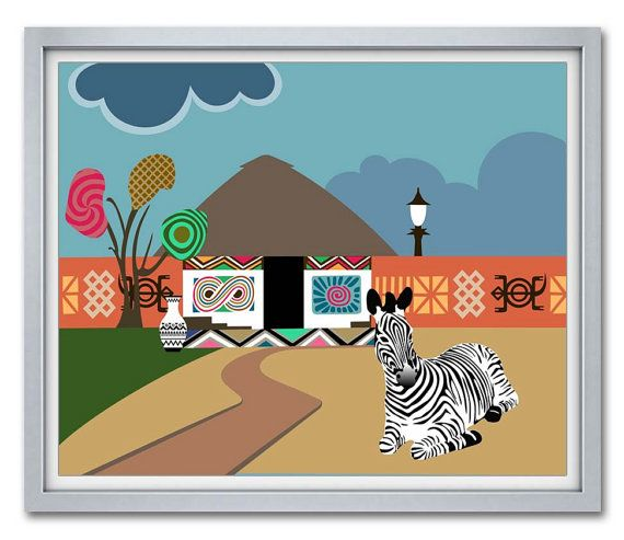 African Artwork, African Decor, African Animals, African Wall Art, African Pop Art, South Africa, African Painting, Zebra Print Decor AVAILABLE @ $15