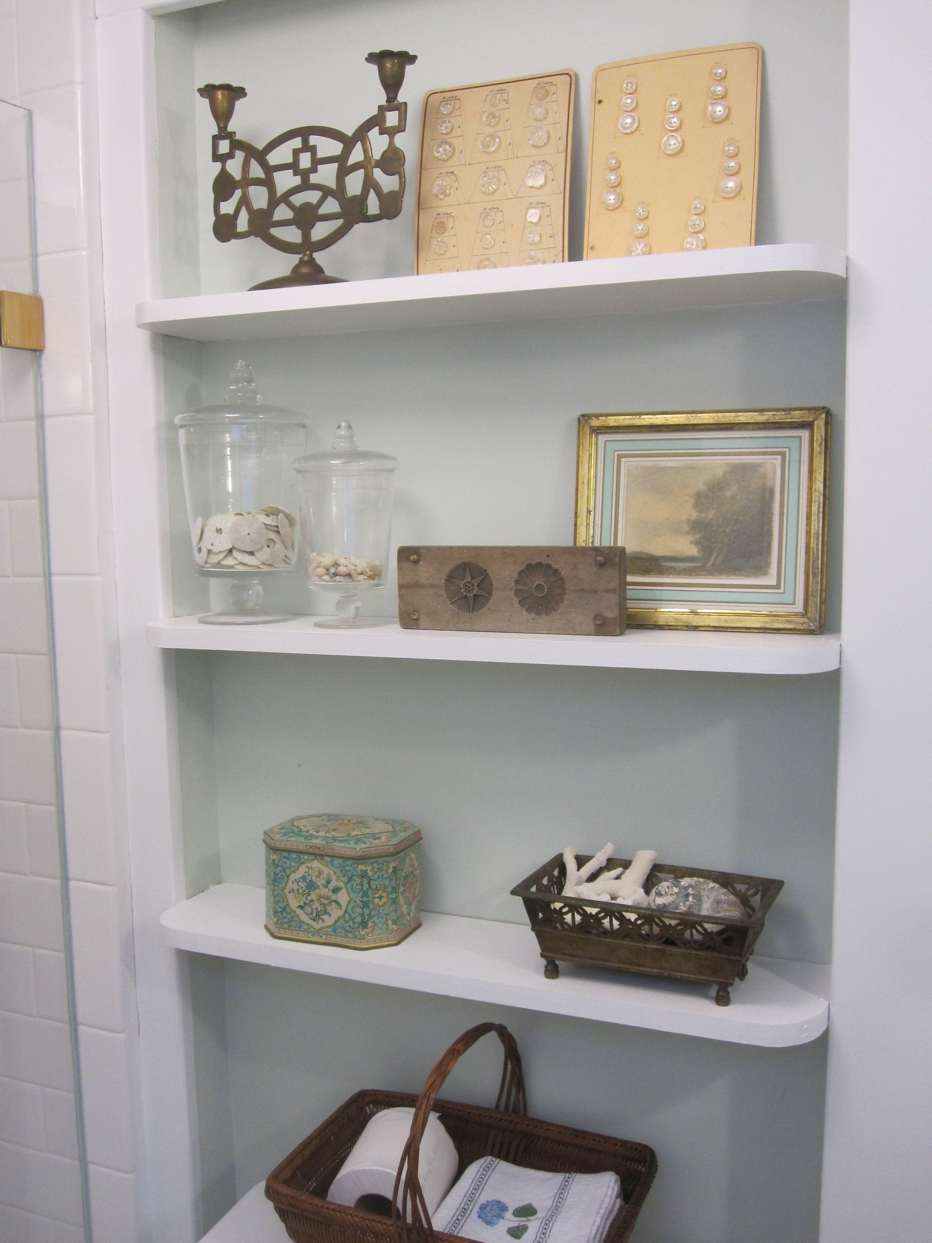 White Recessed Bathroom Shelves For Small Bathroom Storage - White bathroom shelf with hooks for bathroom decor ideas
