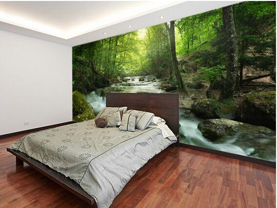 Photo personnalisé papier peint paysage, Enchanteur forêt cascade 3D