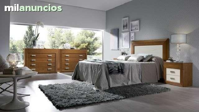 . Dormitorio pino macizo en nogal y blanco. Compuesto por cabezal 135, 2 mesitas 2+1 cajones y 1 c�moda 4+1 cajones. Colores base: Nogal y blanco. Colores combinables: Blanco, nogal i vis�n.