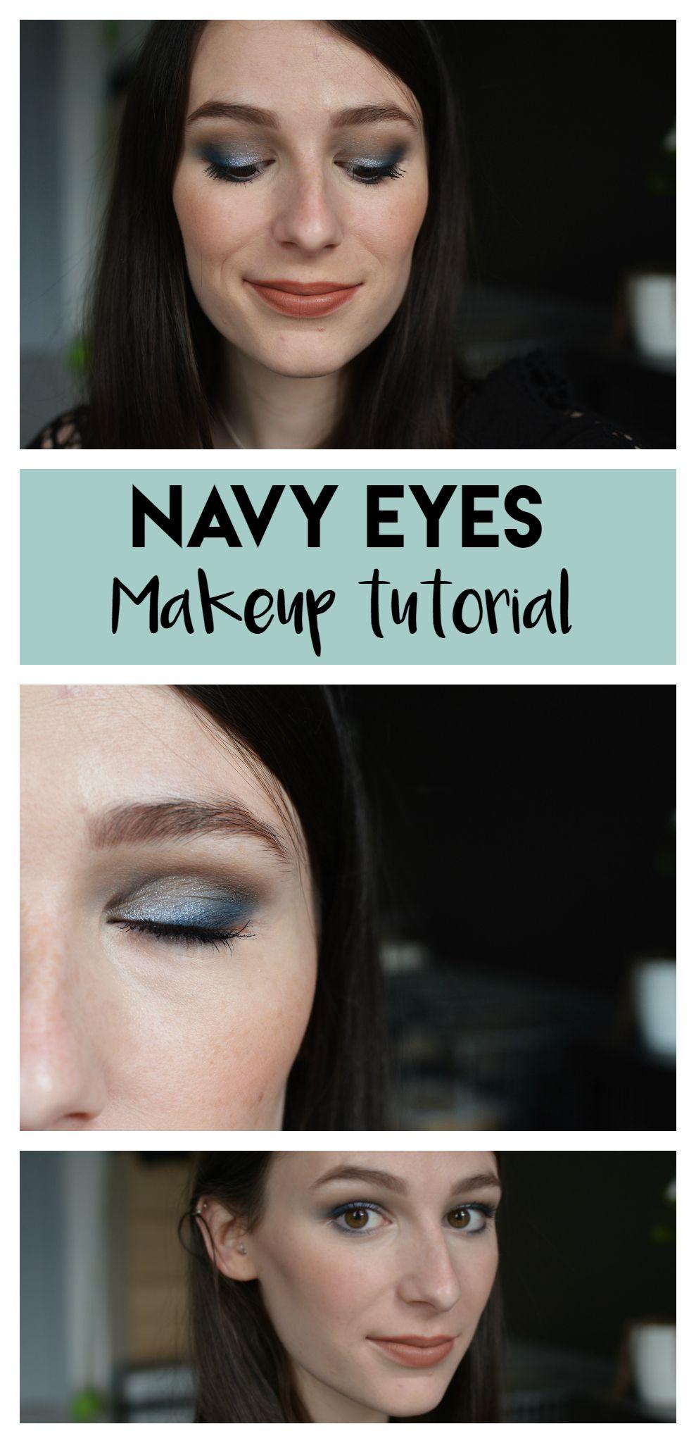 Maquillage de soirée bleu marine argenté