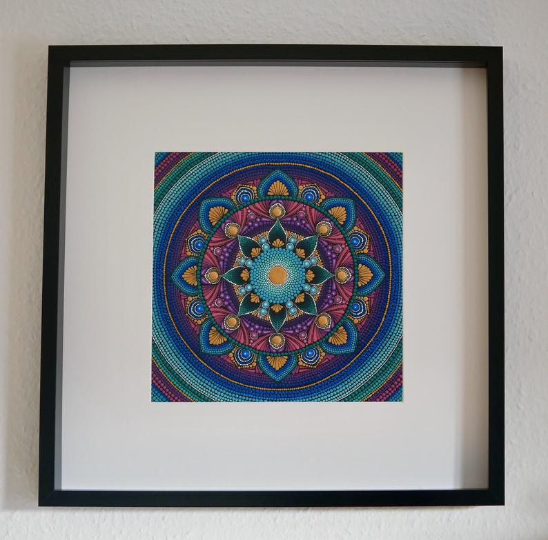 mandala leinwand im bilderrahmen handbemalt punktmalerei