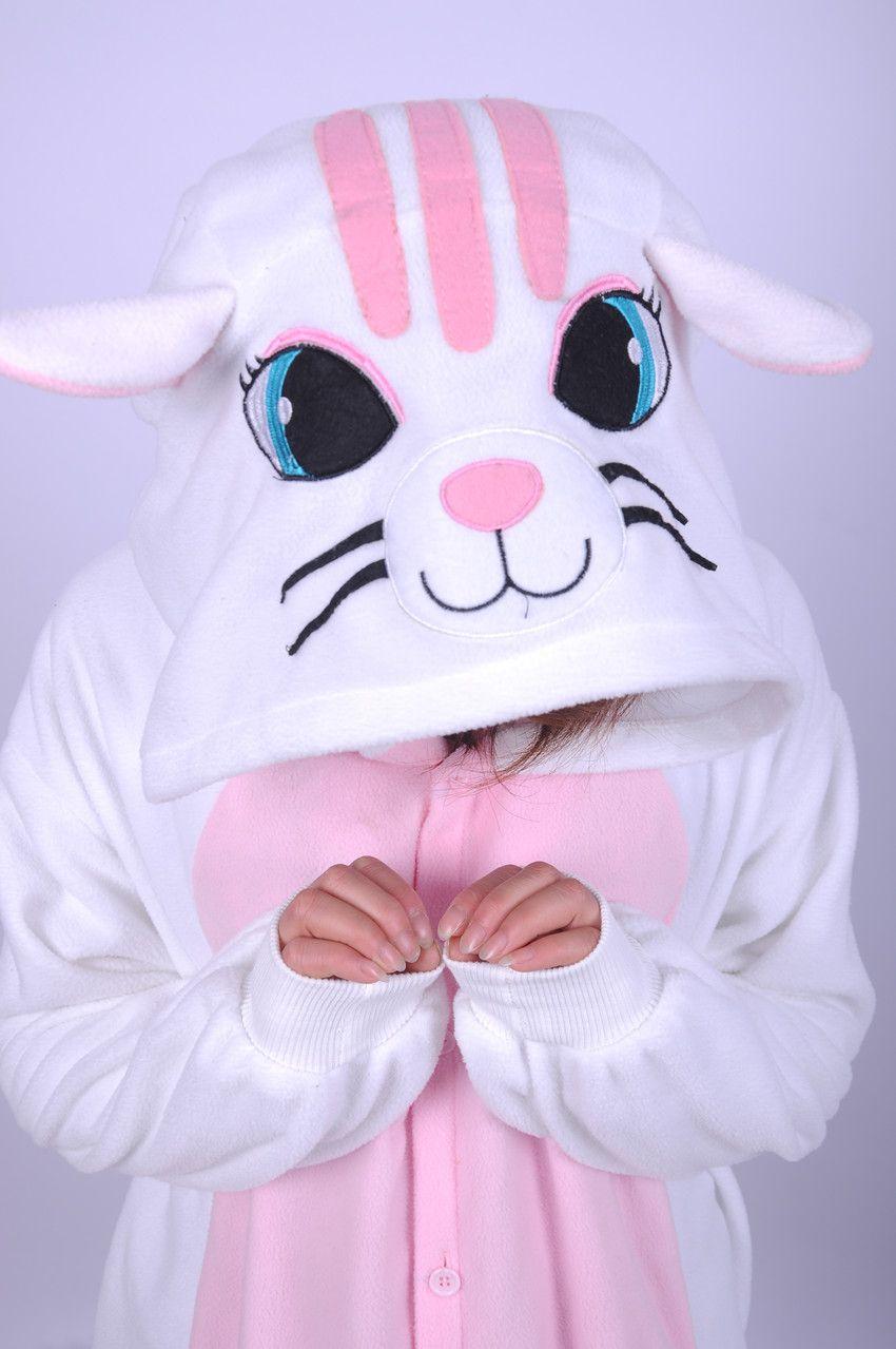 White/Pink Cat Animal Character Adults Pajamas