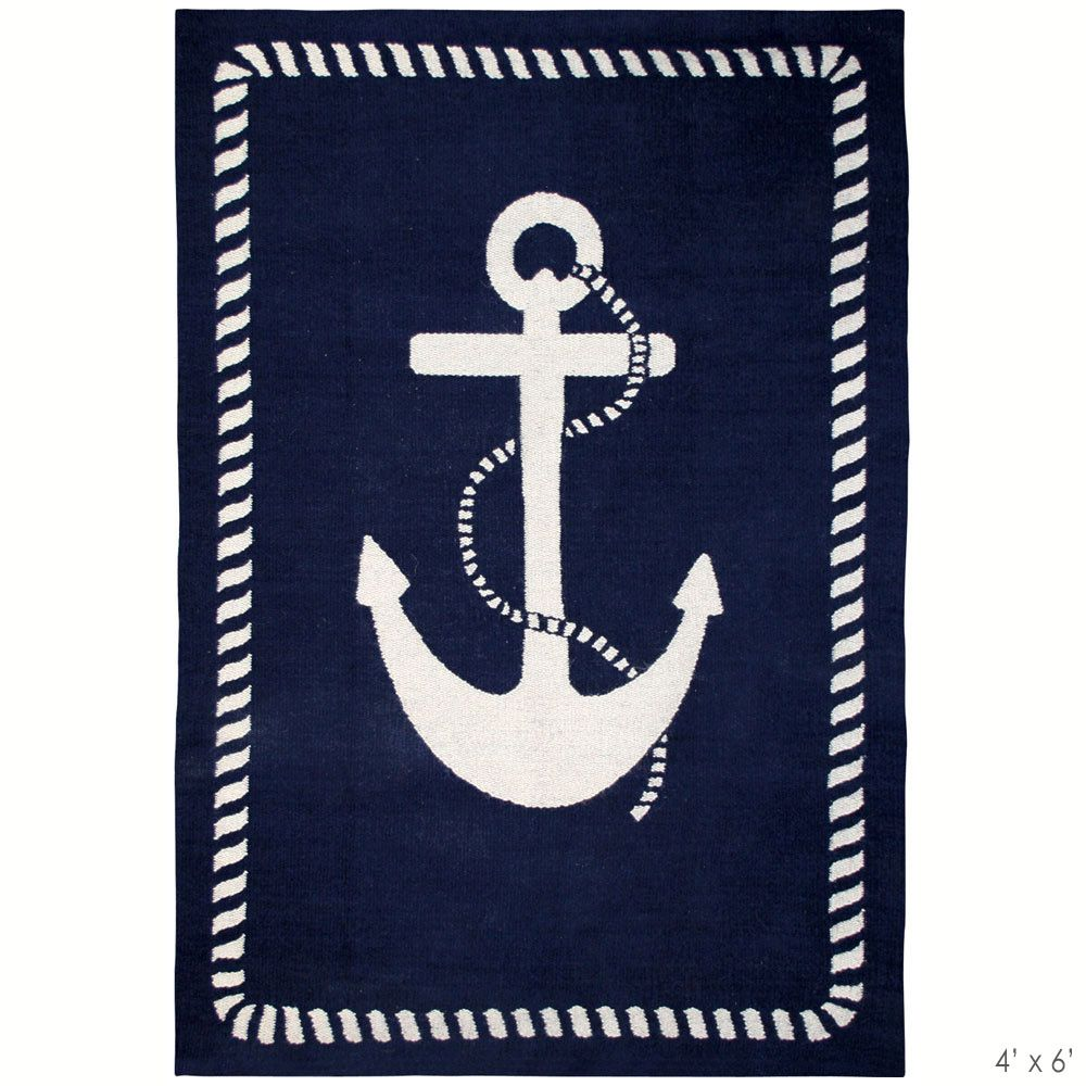 Anchor Rugs: Jonathan Adler Anchor Rug Navy Blue And White