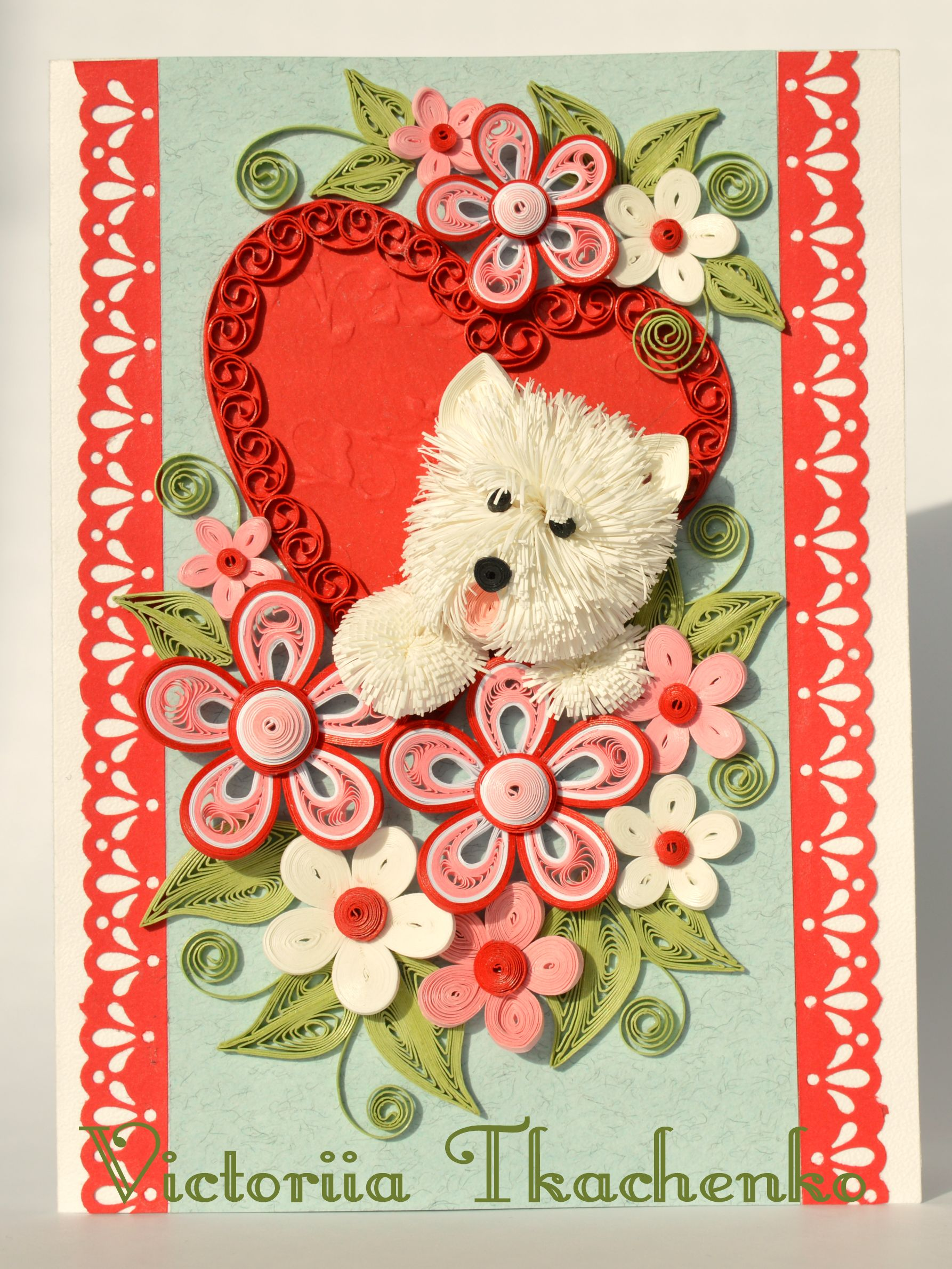 Cute terrier dog greeting card  Valentines quilling card