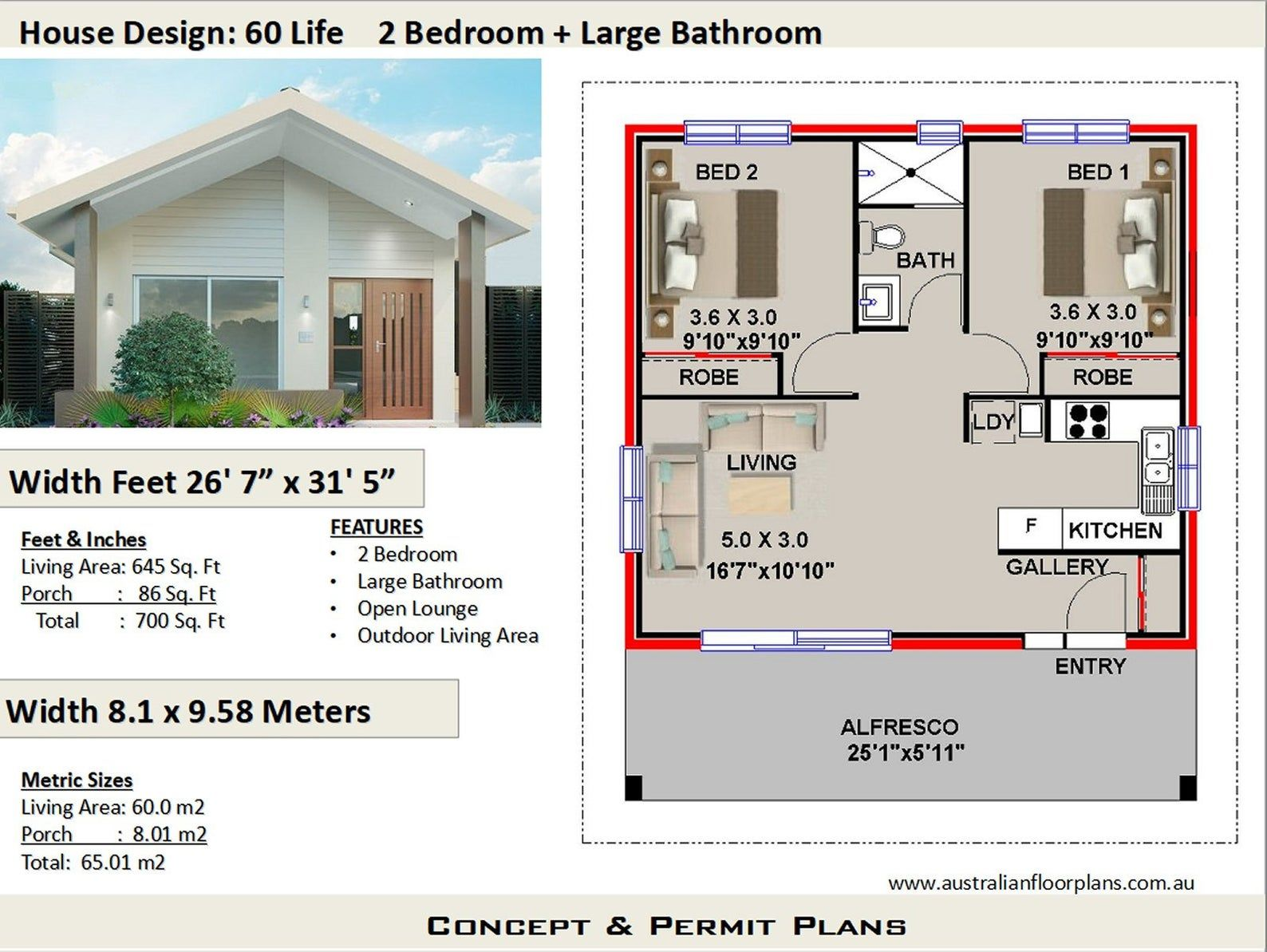 2 Bedroom House Plan 700 Sq Feet Or 65 M2 2 Small Home Etsy House Plans Australia Flat House Design House Plans For Sale