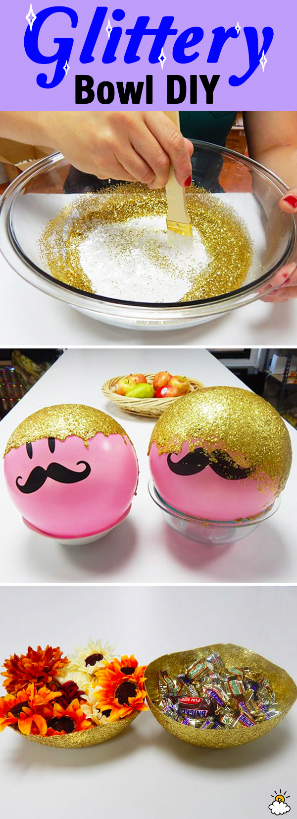 DIY Unique Modge Podge Glitter Bowl great as a