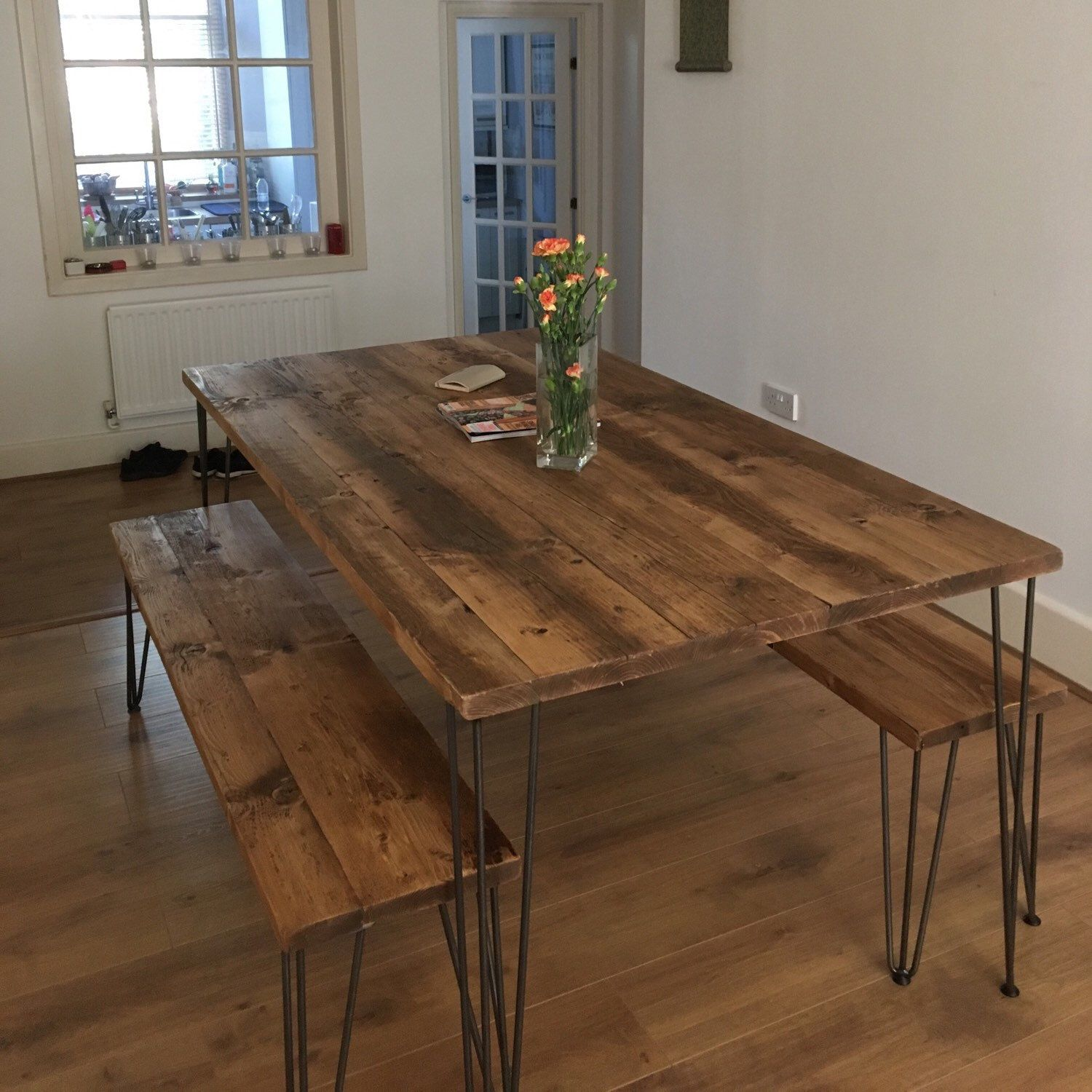 Reclaimed Dining Table With Black Hairpinschoice Of Etsy