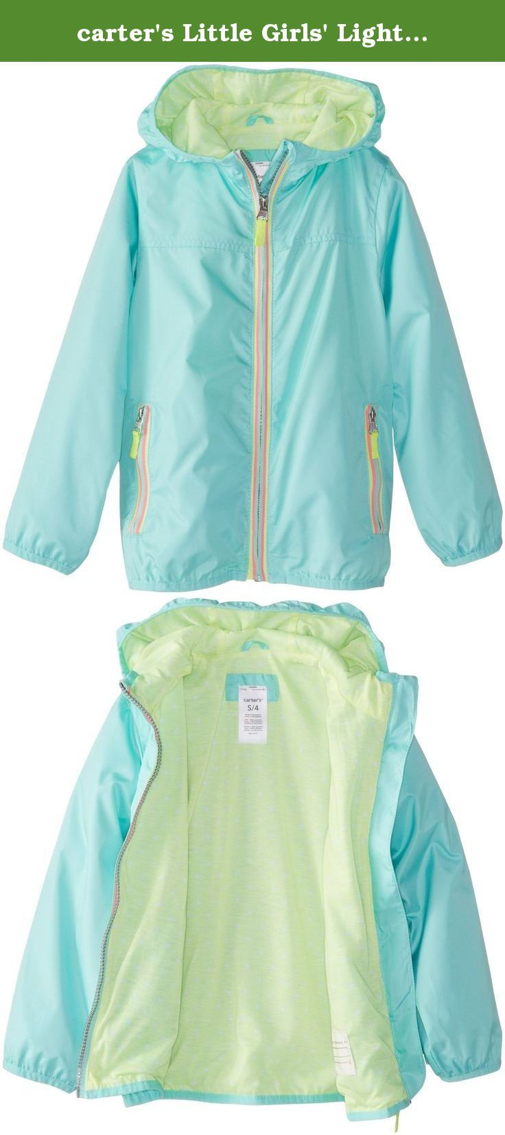 carter's Little Girls' Lightweight Solid Color Jacket, Aqua, 4 ...