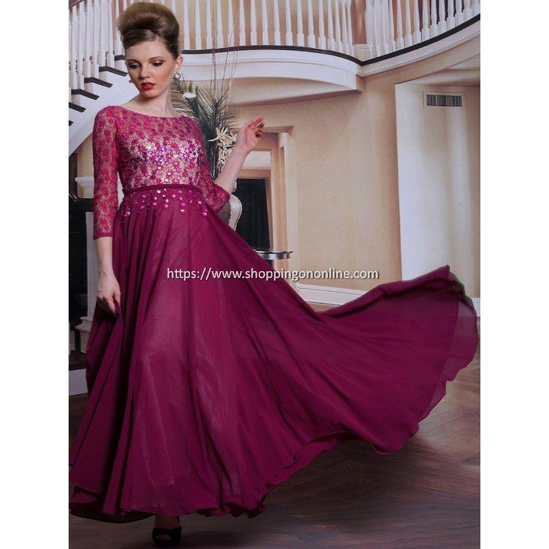 dark-red-prom-dress-3-4-length-sleeves.jpg (800×800) | 21st Birthday ...