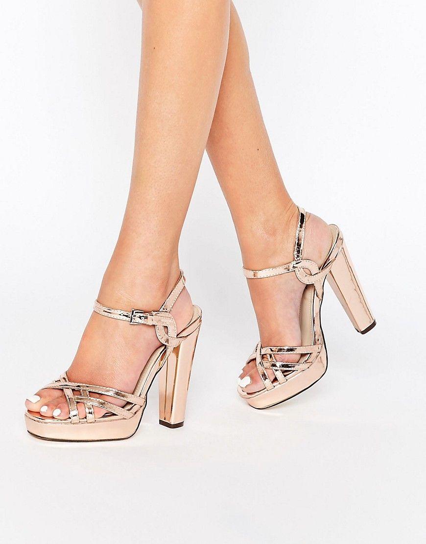 dd27c257964 Image 1 of Blink Rose Gold Platform Heeled Sandals