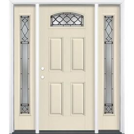Masonite Sheldon 1 4 Lite Decorative Glass Right Hand Inswing Bisque Painted Fiberglass Pre Hung Entry Door With Sidelig Entry Door With Sidelights Entry Doors Door Handle Sets