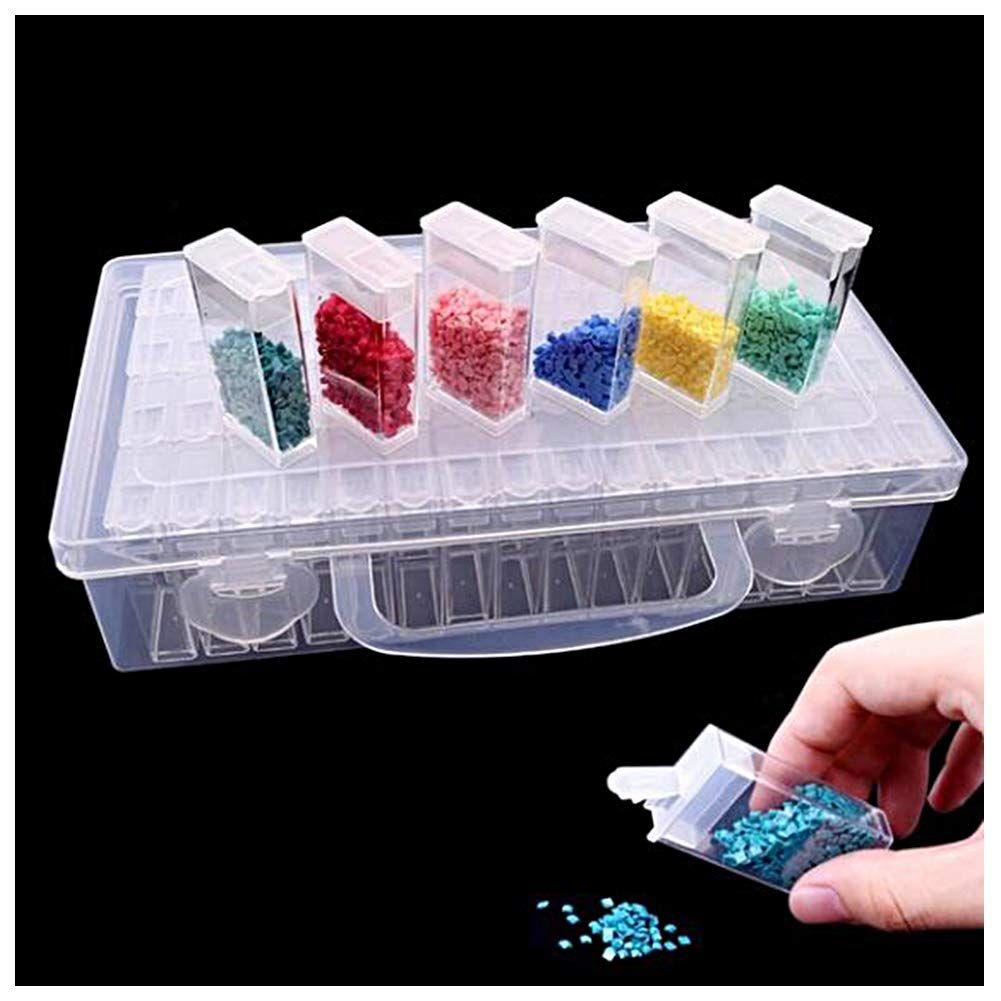 Lot de 64 casiers à broder diamantés dans une boîte de rangement solide - Organisateur de bijo ...