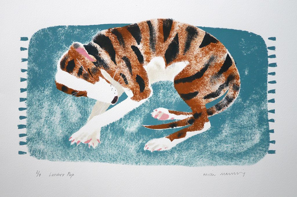 Mick Manning 'Lurcher Pup' stencil print http://www.stjudesprints.co.uk/collections/mick-manning