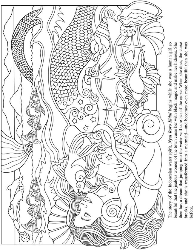 Welcome to Dover Publications Mythical Mermaids Coloring Book ...