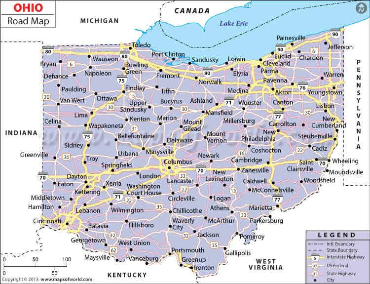 Ohio Road Map Worldmapstore Pinterest Ohio Map Map And