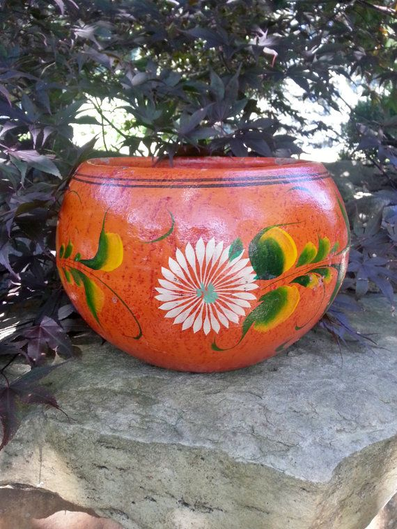 Large Vintage Mexican Hand Painted Terra Cotta By Thejadedorris