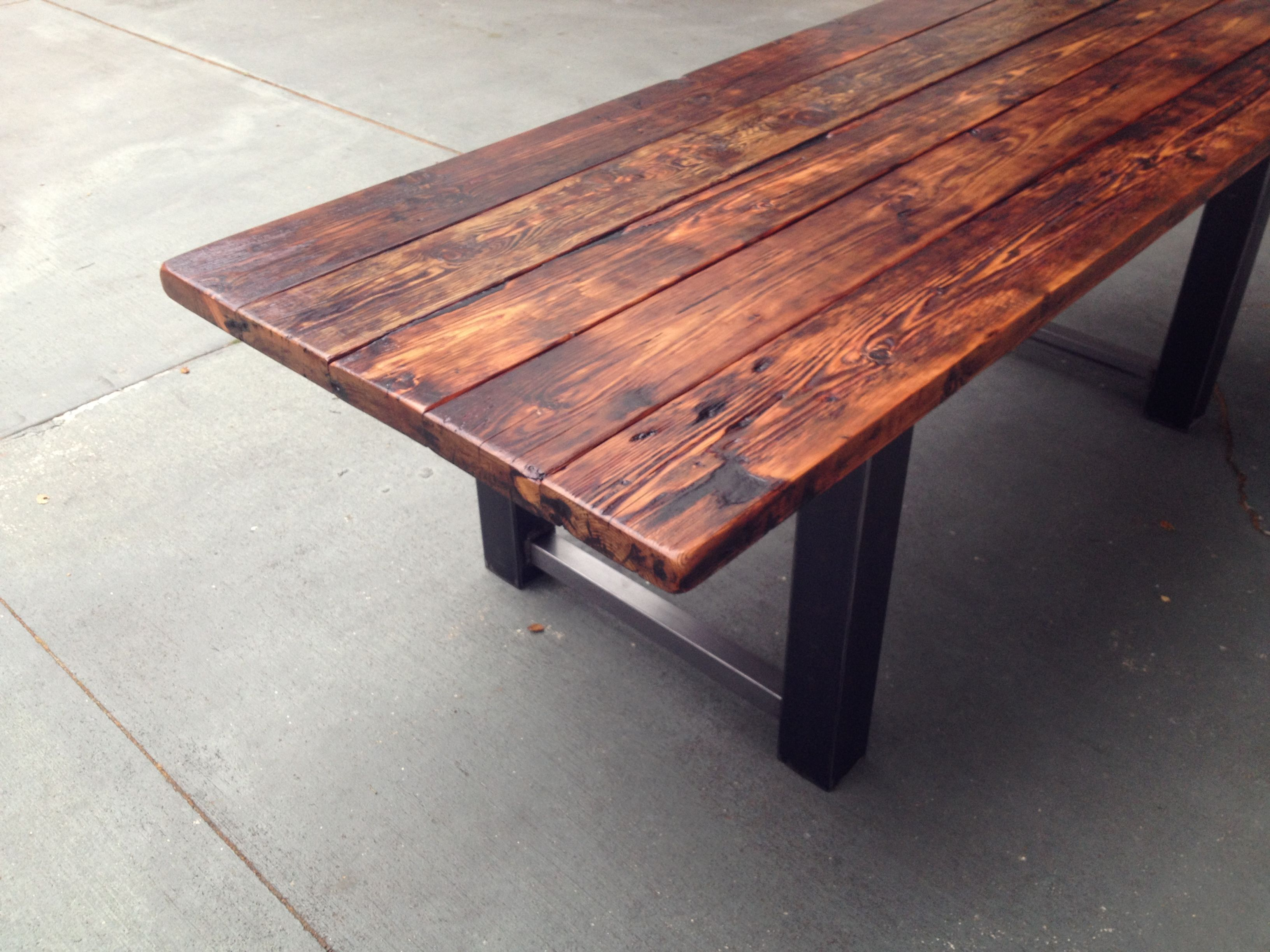 Reclaimed Wood and Metal Dining Table 8. Reclaimed Wood and Metal Dining Table 8   Steel   wood   Pinterest