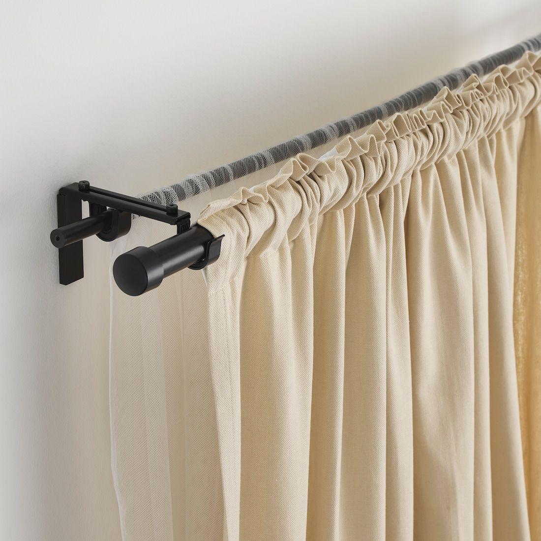 Racka Hugad Double Curtain Rod Combination Black Ikea In 2020 Double Rod Curtains Diy Curtain Rods Double Curtains